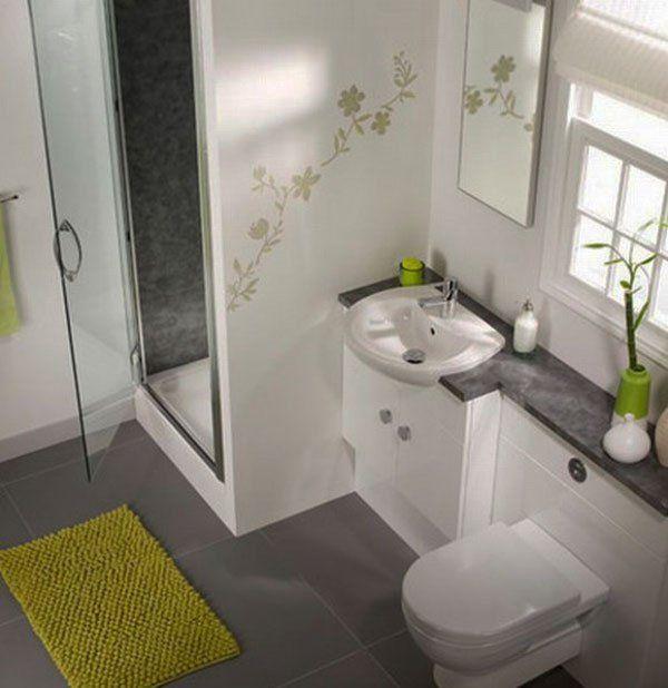 Petite salle de bain design contemporain en blanc et vert