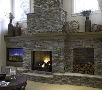 53 best cultured stone images on pinterest fire places for Grey stone fireplace