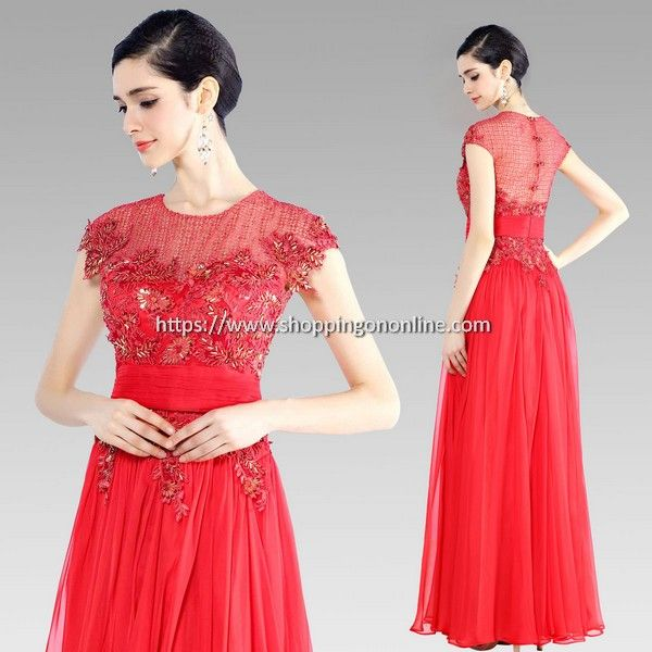 Red Evening Dress - Chiffon Flower Beading $220.80 (was $276) Click here to see more details http://shoppingononline.com/red-evening-dresses/red-evening-dress-chiffon-flower-beading.html #ChiffonEveningDress #ChiffonDress #RedEveningDress #RedDress