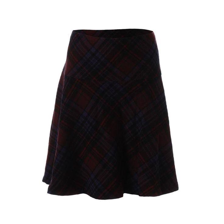 Lauren Ralph Lauren Womens Wool Plaid A-Line Skirt Purple 14 clueless