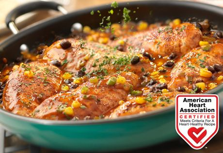 Santa Fe Chicken Saute: Sautéed chicken breasts simmered in a kicked-up picante sauce featuring black beans