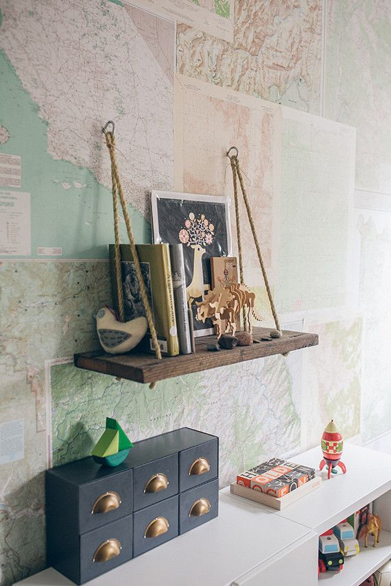 Love the shelf and map wallpaper // Modern woodsy boys room