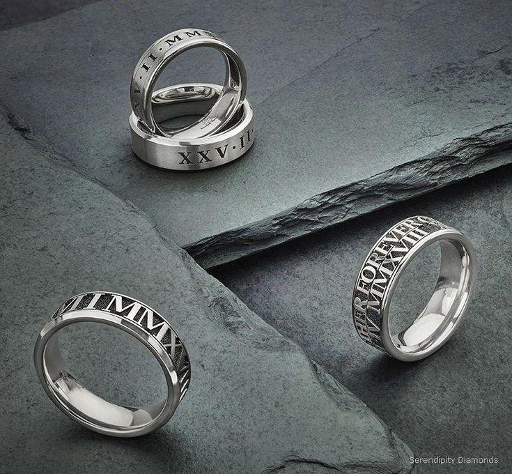 Engraved Titanium wedding rings from Serendipity Diamonds