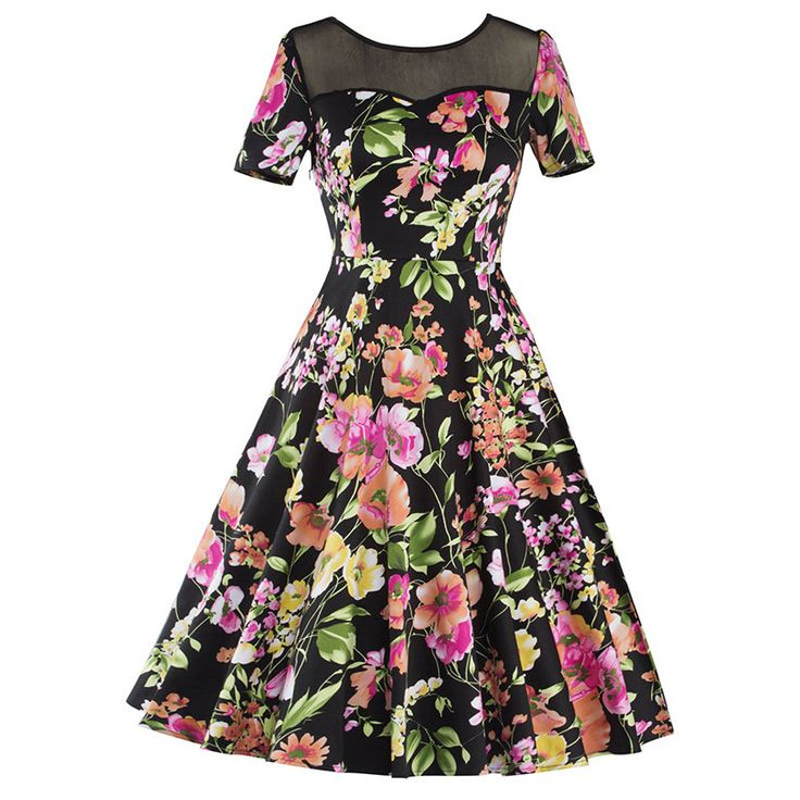Vestidos New 2017 Women Dress O-Neck Print Party Dresses Plus Size Short-Sleeve Lace hollow Spring Casual Dress