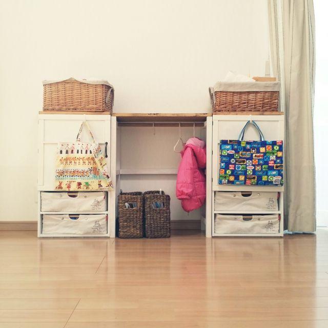 ハンガーラック/子ども用/ニトリ/クローゼット/カラーボックス/収納…などのインテリア実例 - 2015-10-19 09:54:44   RoomClip(ルームクリップ)
