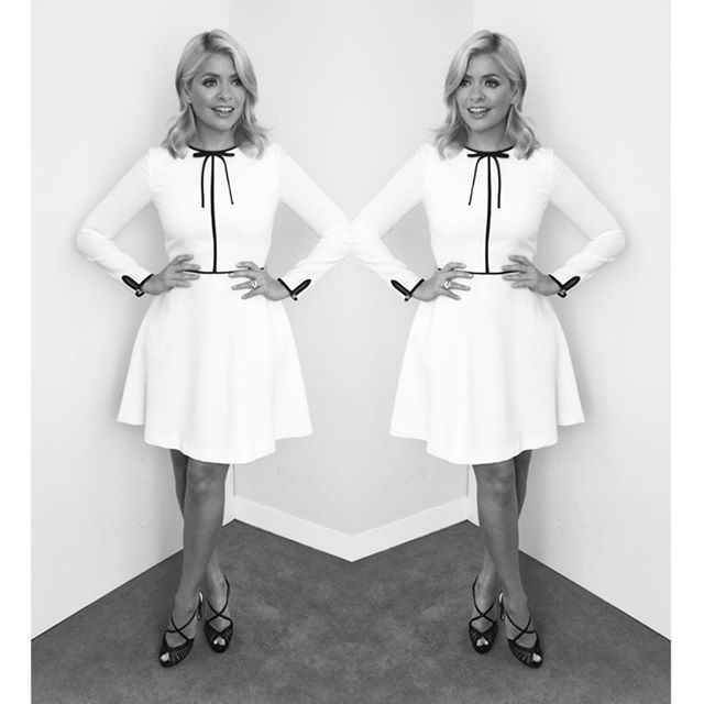 Tuesdays look on @thismorning ... dress by @ted_baker and shoes by @lkbennettlondon ❤️
