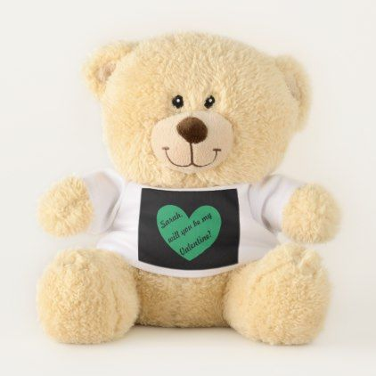 Kelly green polka hearts on black teddy bear - heart gifts love hearts special diy