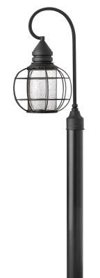 The New Castle collection gives this traditional lantern design a modern twist with a recessed light source inside a seedy glass cylinder. The solid aluminum construction in a durable powder coat Black finish is Dark Sky compliant.