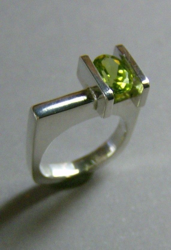 Modern Sterling Silver Peridot Ring, Contemporary Channel Set Ring, August Birthstone, Other Gemstone Ring Choices on Etsy, $130.00