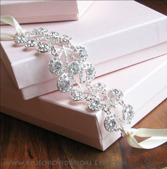 Crystal Headband, Bridal Headband, Wedding Head Piece, Rhinestone Headband, Art Deco Headband, Headpiece, Ivory Headband, Ivory Head Piece on Etsy, $75.00