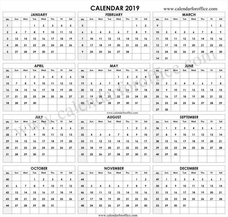 2019 Year Calendar With Week Numbers Printable Template ...