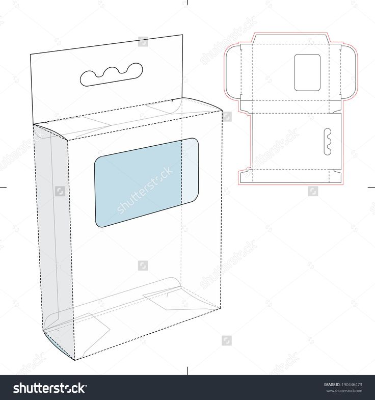 Box With Shelf Hanging Holes And Die Cut Layout Stock Vector Illustration 190446473 : Shutterstock