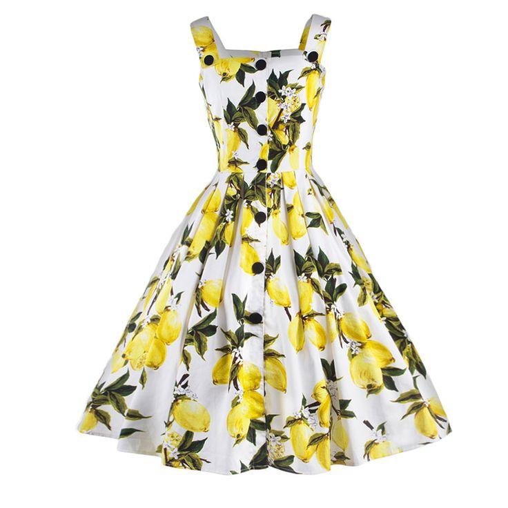 Vestidos Women Summer Strap Sleeveless Dress Lemon Print Sexy Button Vintage Pleated Single Breasted Dresses Beach Dress