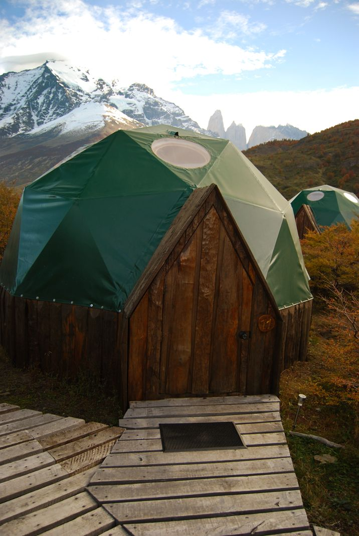 Standard Dome. The world's first Geodesic hotel room! A wondefully snug dome resistant to the Patagonian winds. http://www.ecocamp.travel/Domes/Standard