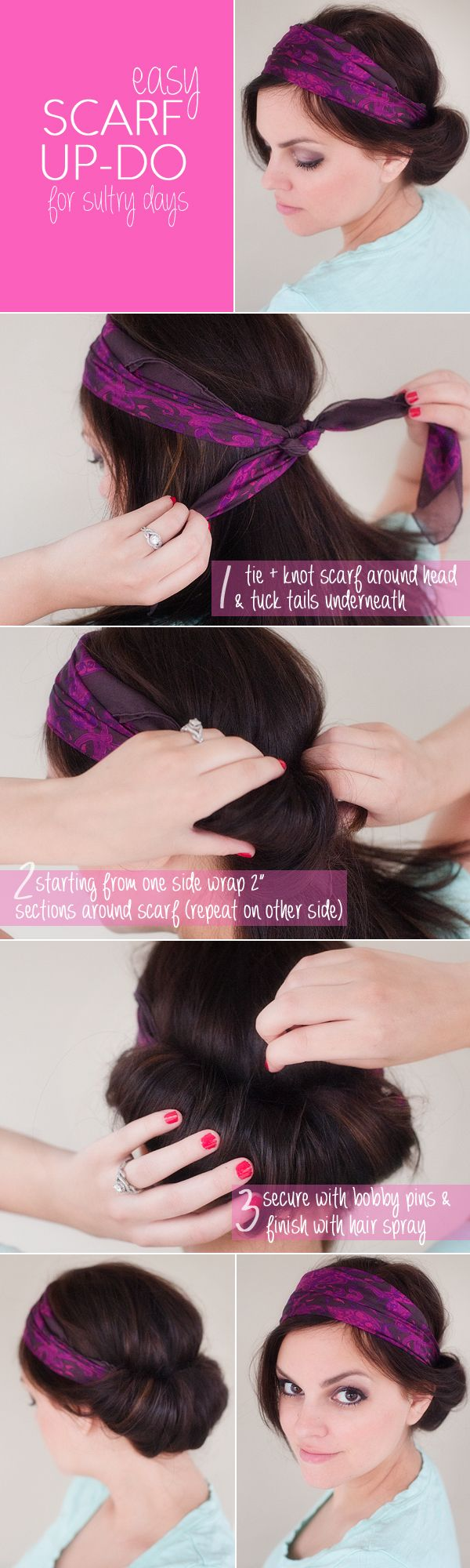 easy scarf updo for summer | www.prettyplainjanes.com
