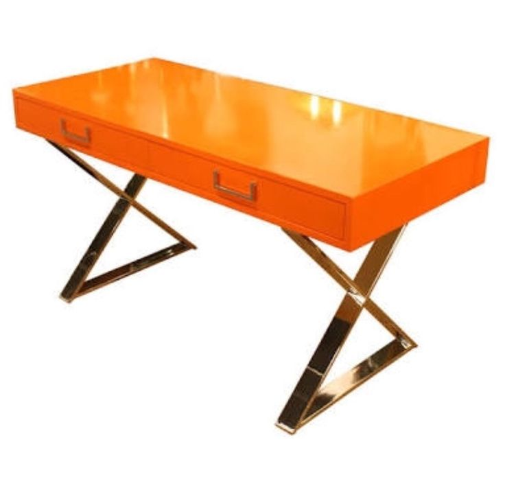Beautiful Campaign Desk- Milo Baughman -Orange Desk With Brass X Brackets Signed…