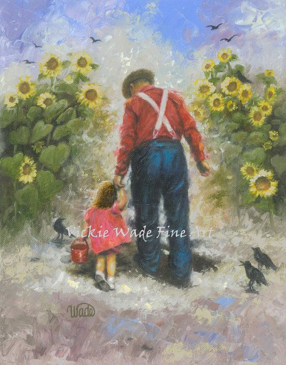 Sunflower Walk With Grandpa Art Print, brunette girl, dad ...
