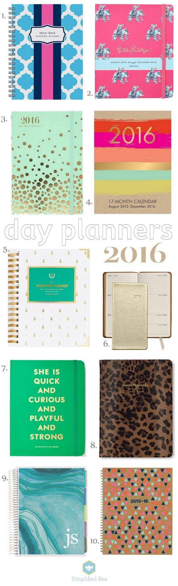 best stylish planners for 2016 via simplifiedbee.com #2016 #planners #agendas #dayplanner #getorganized
