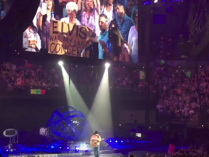 """There was another impromptu fan moment at a Garth Brooks concert over the weekend. On July 1,2017 at the Cajundome in Lafayette, La., Garth noticed 89-year-old fan, Miss Laura, holding a sign that read """"Elvis Was My Last Concert""""—and she wasn't referring to Elvis Costello. The last concert Miss Laura saw was Elvis Presley!! I was at this concert, this is only one of many reasons why Garth Brooks is so   AWESOME!!!"""