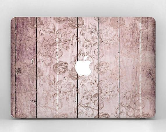 Wood Floral Laptop Decal MacBook Wood Decal Laptop Decal