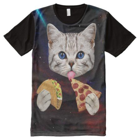Space Cat with taco and pizza All-Over-Print T-Shirt - tap, personalize, buy right now!