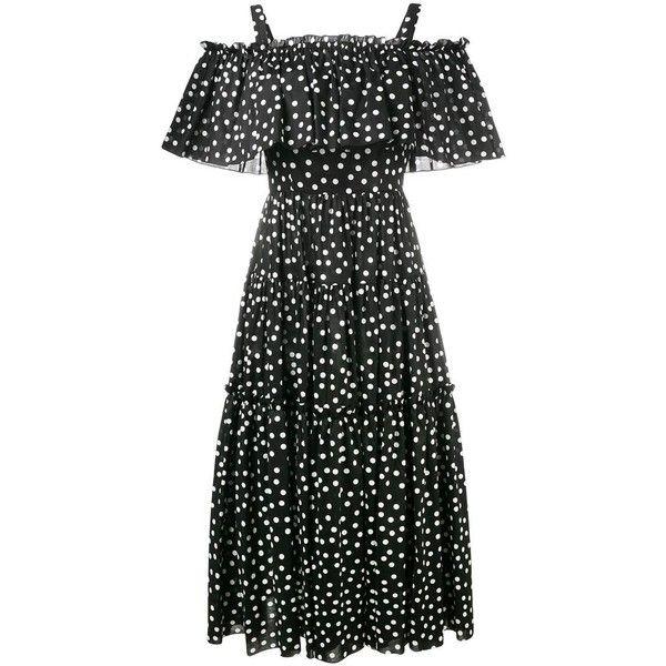 Dolce & Gabbana off-shoulder polka-dot dress (6.370 BRL) ❤ liked on Polyvore featuring dresses, black, dot dresses, strap dress, dot print dress, elastic dress and dolce gabbana dress