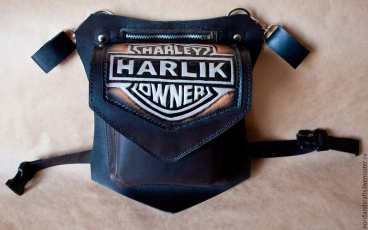 Купить Набедренная сумка, кожаная байкерская сумка - черный, сумка, сумка набедренная, сумка кожаная