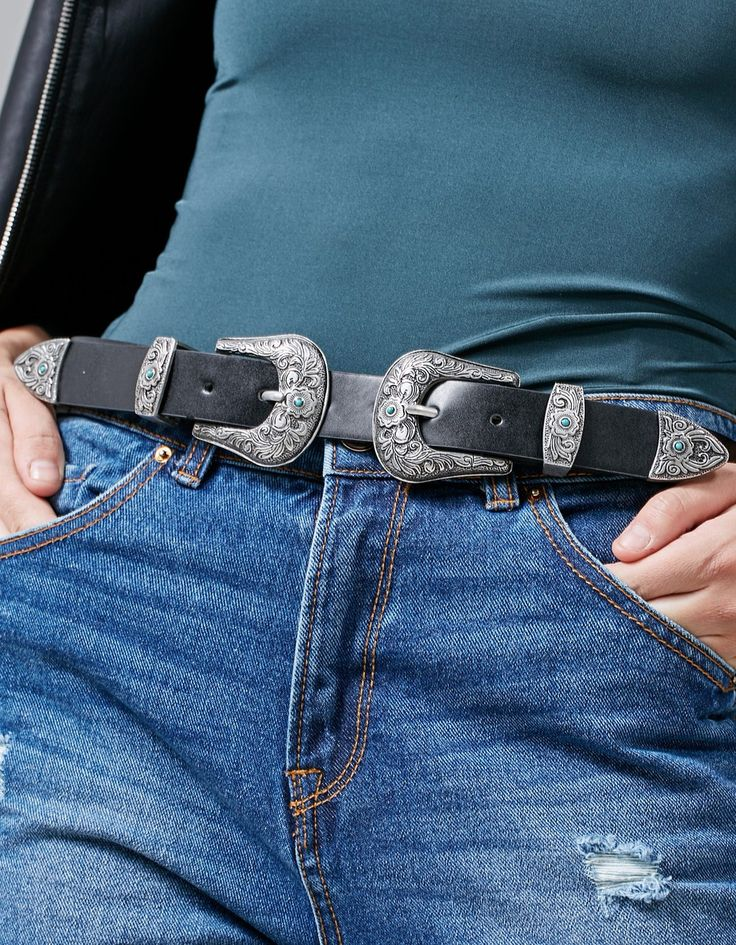 Cowboy belt with double buckle - Belts | Stradivarius Finland