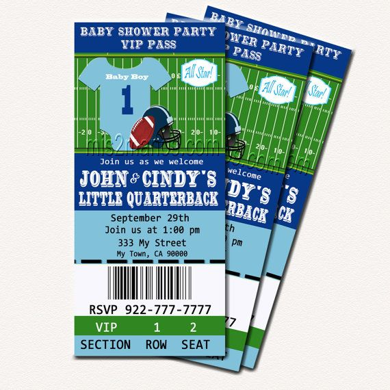 Football Baby Shower Printable Ticket Invitations, Printable Photo Card, DIY Baby Shower Ticket