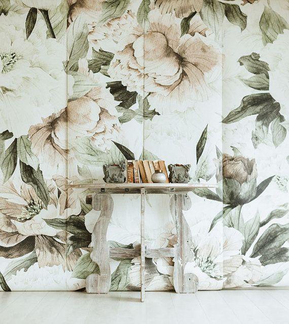 Blush Wallpaper Floral Mural - arte de la pared Vintage
