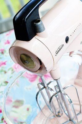 vintage pink hand mixer<3..mine was white, learned to bake using my mother's than got on like it in the 60's..still have this style