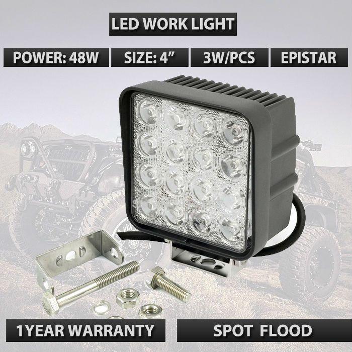 $8.37 (Buy here: https://alitems.com/g/1e8d114494ebda23ff8b16525dc3e8/?i=5&ulp=https%3A%2F%2Fwww.aliexpress.com%2Fitem%2F12v-external-work-light-High-Power-48W-square-offroad-LED-Work-Light-car-led-driving-light%2F32509942151.html ) 4inch 48W Flood Led Work Light 4X4WD Off Road Driving Boat Truck Suv ATV car led headlights  for just $8.37