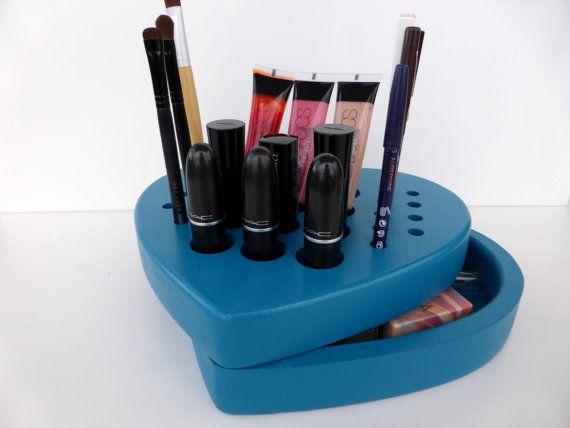 Heart  Blue Makeup organizer  storage  Makeup by CraftersCalendar