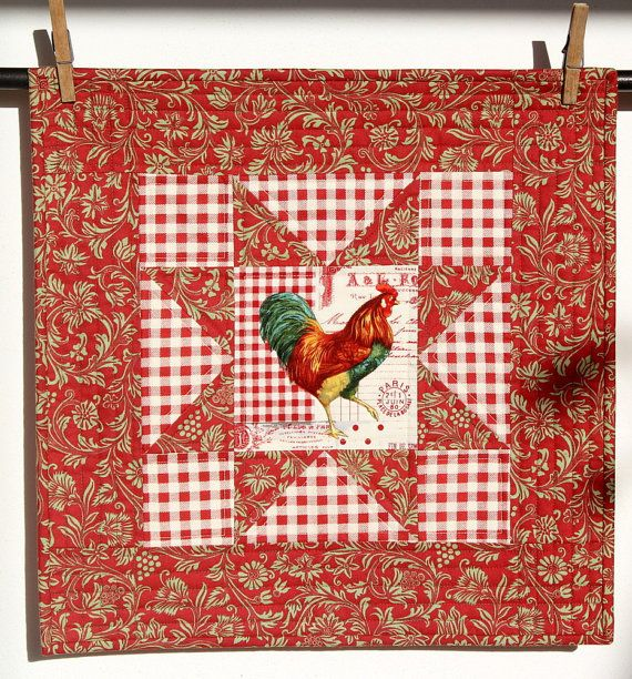 Quilted Rooster Wall Hanging  Red White Check by RedNeedleQuilts