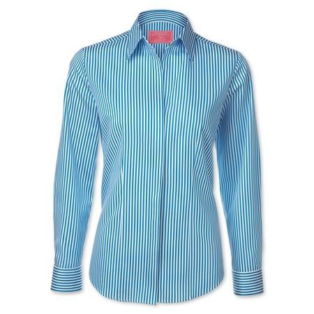 Turquoise Bengal stripe stretch semi-fitted shirt | Women's shirts from Charles Tyrwhitt | CTShirts.com