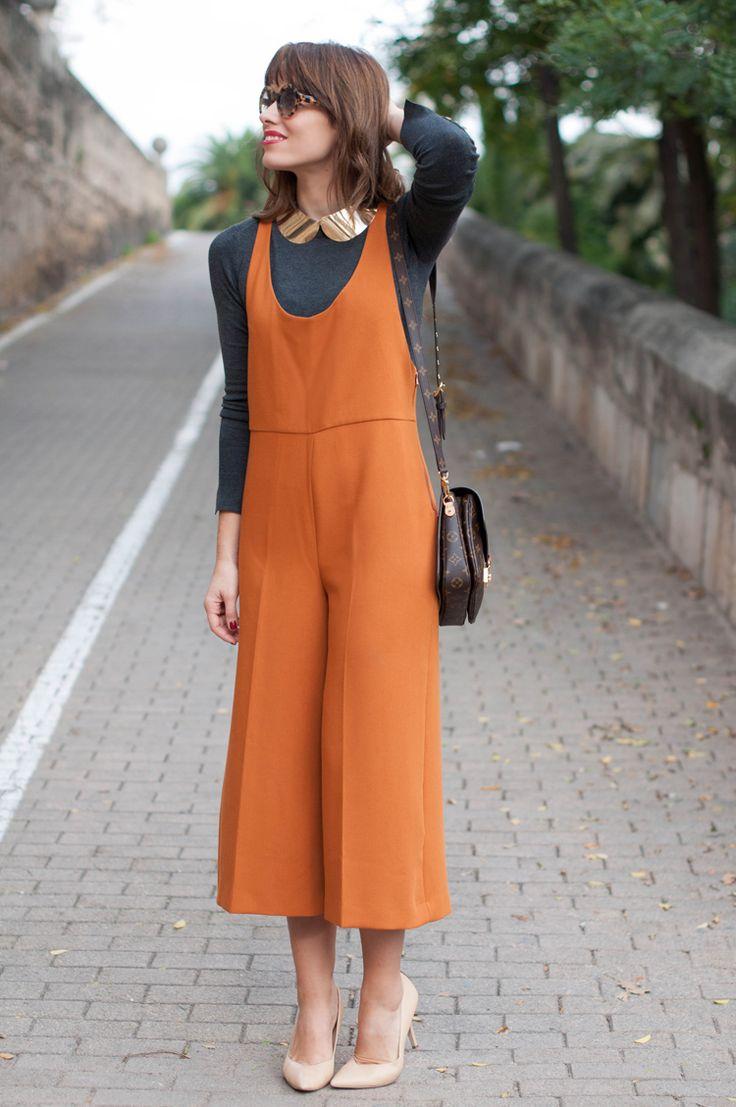 autumn, orange jumpsuit, culottes, street style, outfit, Zara jumpsuit