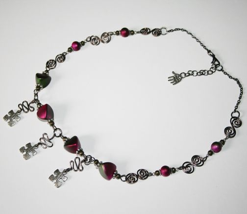 Pink Beaded Jigsaw Necklace 50% discount available for £7.50