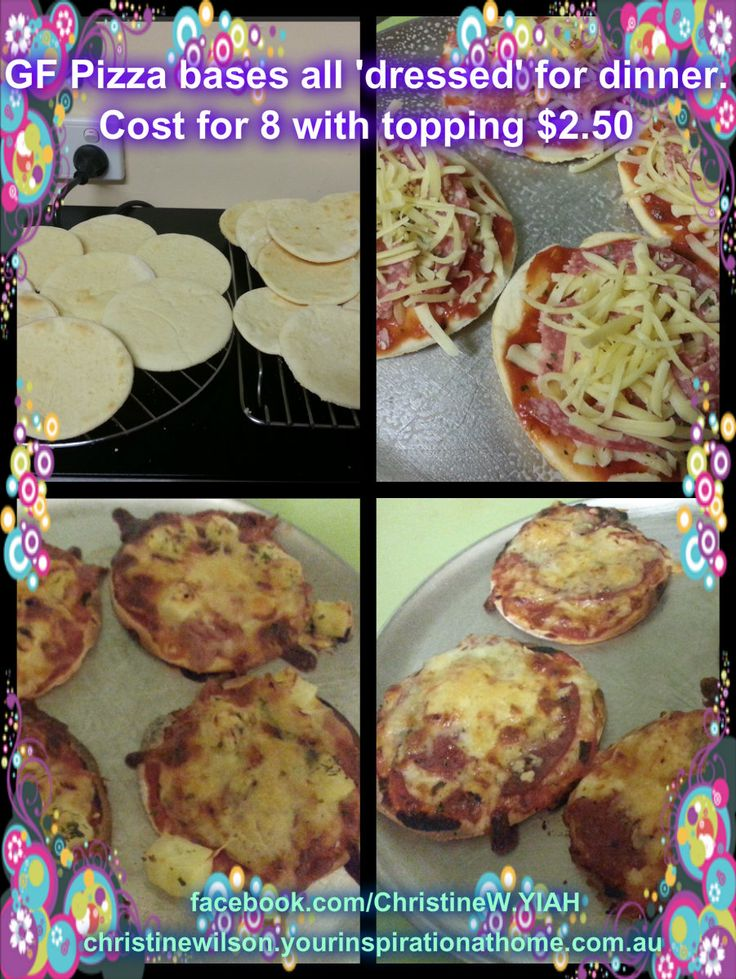 For Recipe click on link https://www.facebook.com/notes/christine-wilson-your-inspiration-at-home-consultant/21-gluten-free-single-serve-pizza-bases-for-400/701882463180781