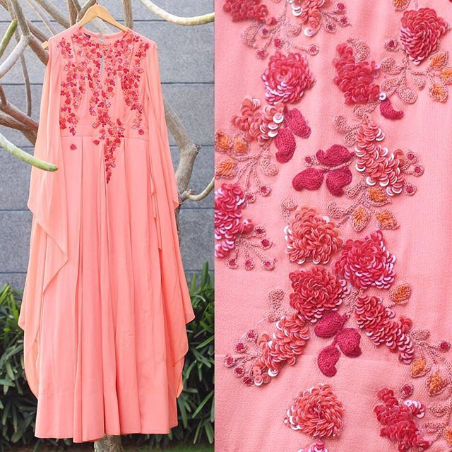 The #RidhiMehra flared sleeves, summer peonies, anarakali from our SS16 Collection  Shop RidhiMehra outfits by mailing at shop@ridhimehra.com  #Anarkali #Pink #Peach #IndianFashion #IndianWear #WomensFashion #WomensWear #Designer #Love #OOTN #Wedding #OOTD #Bridal #Trousseau #Bling #Delhi #Mumbai #Bangalore #Chennai #Kolkata #Hyderabad #India