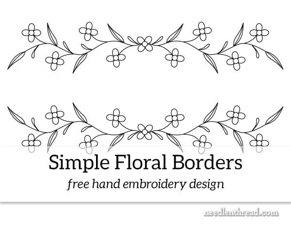Simple Floral Borders Free Hand Embroidery Design