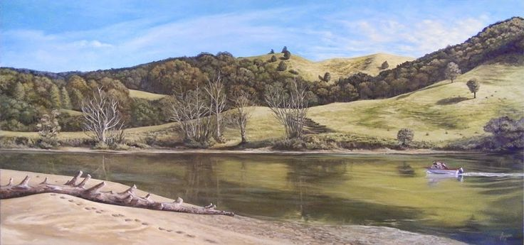 Puhoi Rivermouth, Auckland, (New Zealand) by Arwen Flowers www.kiwiartist.com - oil painting