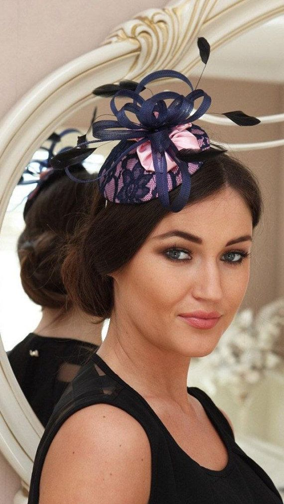 Navy And Pink Fascinator Wedding Races Hat Guest Fascinators Headpieces Straw Or Sinamay Hats In 2018