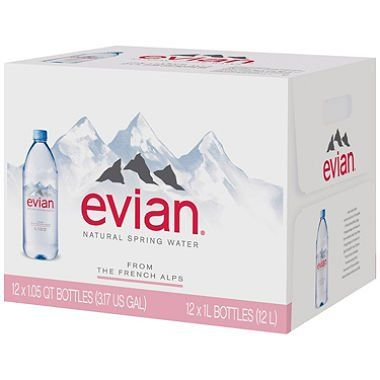 Evian Natural Spring Water (1L, 12 pk.) (pack of 2)