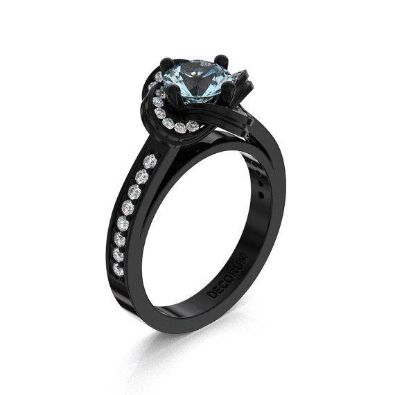 Decorum 14K Black Gold 1.0 Ct Aquamarine Diamond by DecorumRings