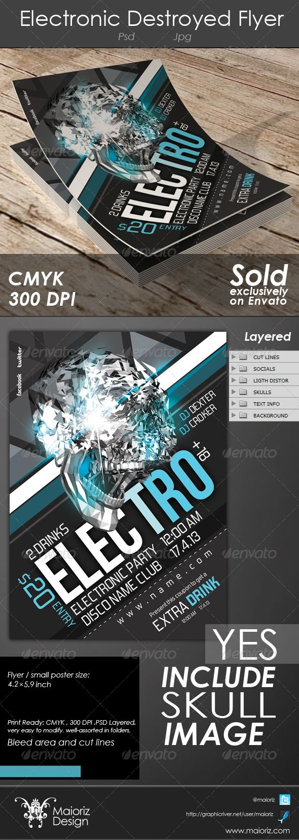 Electronic Destroyed Flyer  #GraphicRiver                                4.21×5.90 print dimension with Bleed, Well Layered Organised, 300 DPI , CMYK , Print ready, Fully Editable, Text/fonts/colors editable, Very Easy to Customise. includes BIG skull 3D image. 	 Font used:  Font used: bebas and forgotten-futurist More info on help File.          Created: 29March13 GraphicsFilesIncluded: PhotoshopPSD #JPGImage Layered: Yes MinimumAdobeCSVersion: CS PrintDimensions: 4.21x5.90 Tags: acid…