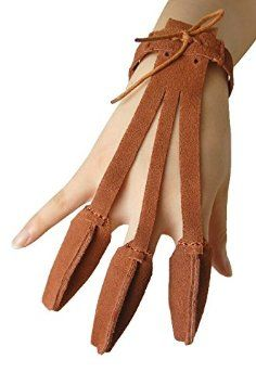 Buffalo 3 Finger Design Archery Protect Glove Archery Shooting Glove Leather Archery Single Seam Glove Traditional Shooters Glove Medium