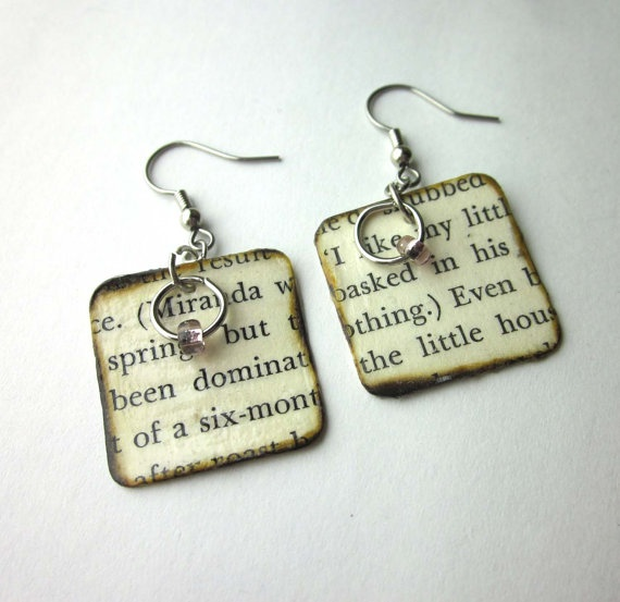 Crafty and REALLY COOL!   Book page earrings ESPARTOstudio on Etsy <3