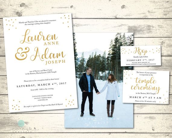 Elegant LDS Wedding Invitation Package