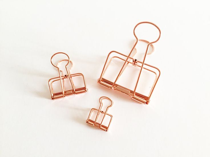 Metal Binder Clips - Rose Gold (small / medium 2 pcs | large 1 pc) Korean Stationery Bookmarks Cute Paper Planner Metal Clips E0333R by TinyBees on Etsy