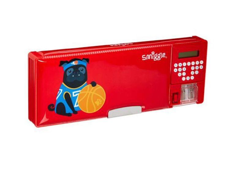 Smiggle pencil case with built in calculator and sharpener